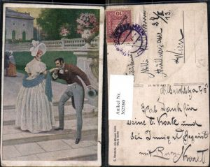 362580,Künstler Ak C. Benesch Alt-Wiener Liebe Stara laska Paar Handkuss