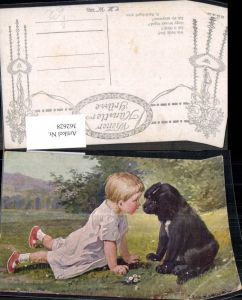 362628,Künstler Ak E. Reckziegel Wie heißt du Kind m. Hund