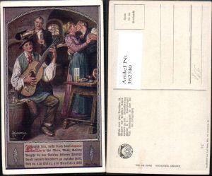 362740,Deutscher Schulverein 808 Künstlerkarte F. Kuderna Paar Kuss Gitarre Wein