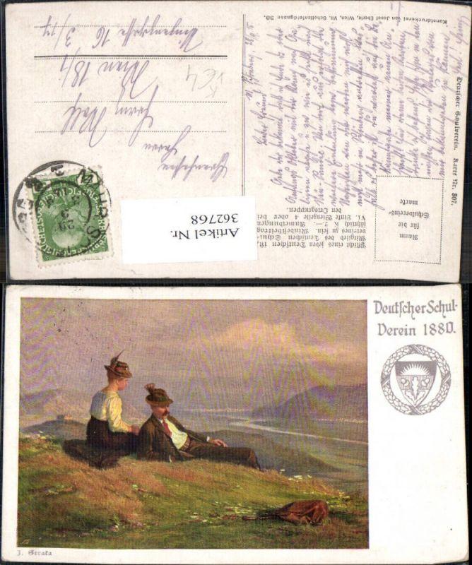 362768,Deutscher Schulverein 807 Künstlerkarte J. Straka Paar Tracht Ausblick
