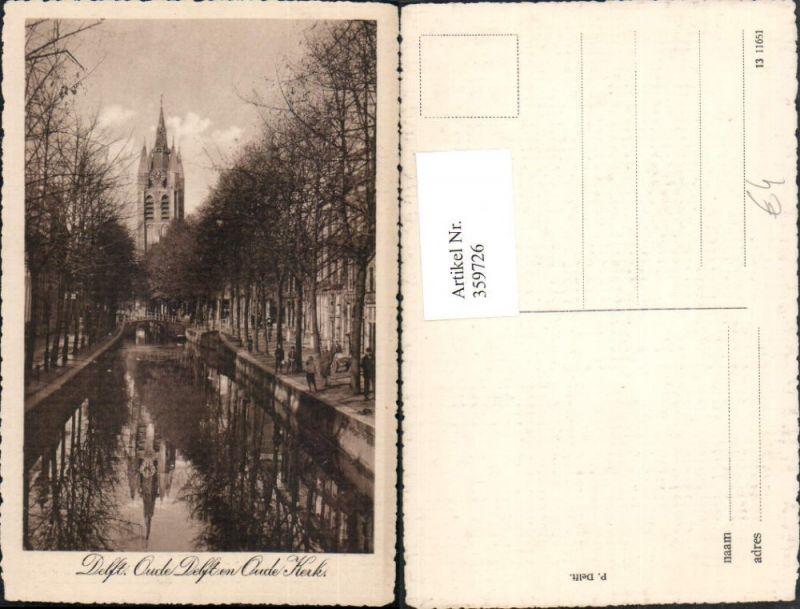 359726,Netherlands Delft Oude Delft en Oude Kerk Kanal Brücke Kirchenturm