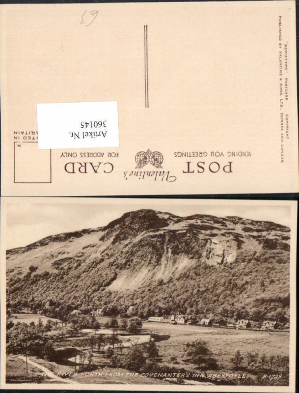 360145,Scotland Stirling Aberfoyle River Forth from the Covenanters Inn Bergkulisse