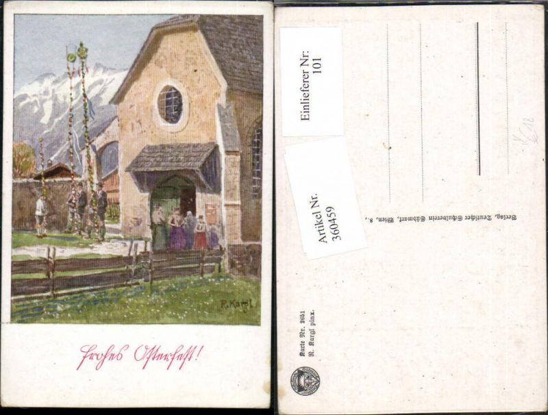 360459,Deutscher Schulverein 2651 Künstler R. Kargl Ostern Kirchengang Kirche Bergkulisse
