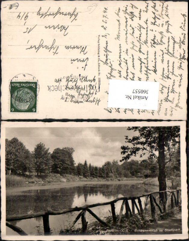 360557,Poland Beuthen Bytom Schwanenteich im Stadtpark Teich