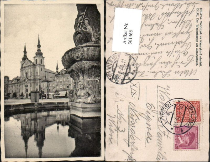 361468,Jihlava Iglau Vodotrysk na Masarykove namesti Wasserkasten am Masarykplat Kirche
