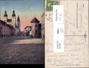 361469,Telc Teltsch Straßenansicht Kirche Türme