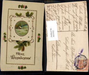 363352,Künstler Ak Weihnachten Haus Winterlandschaft Passepartout Tannenzweig Klee Kleeblätter