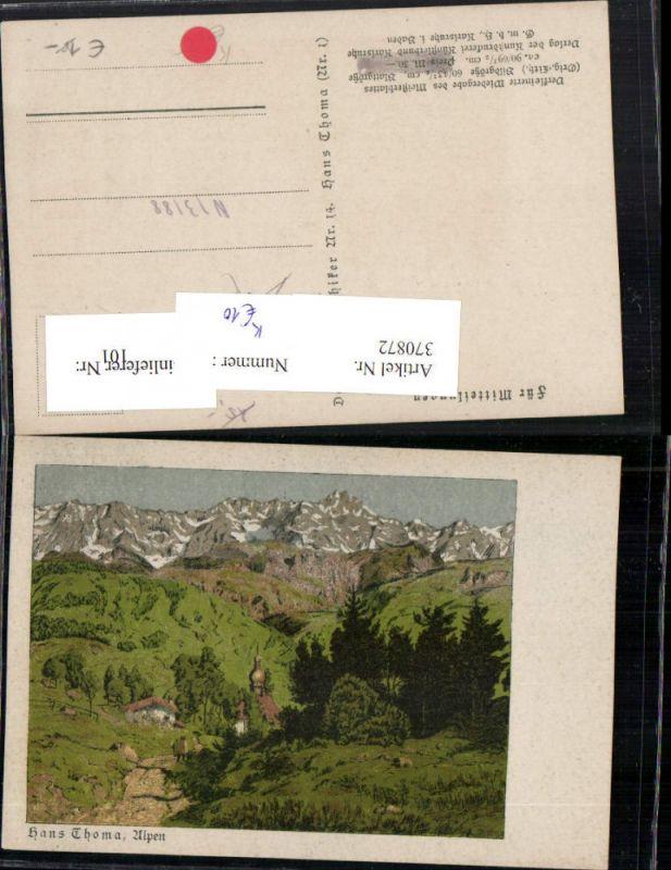 370872,Künstler AK Hans Thoma Alpen Dorf Bergkulisse