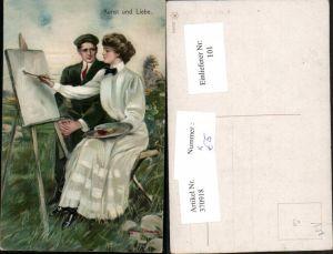 370918,Künstler AK Clarence F. Underwood Kunst u. Liebe Künstlerin Malerin Palette Staffelei Pinsel