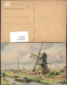 364502,Künstler Ak Windmühle Segelboot Segelschiff Landschaft Fischen Angeln