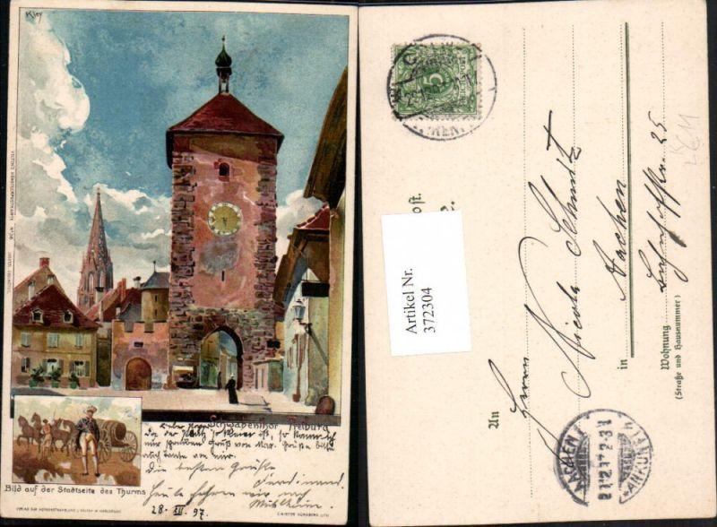 372304,Künstler Litho Heinrich Kley Freiburg Schwabentor Turm Mehrbildkarte