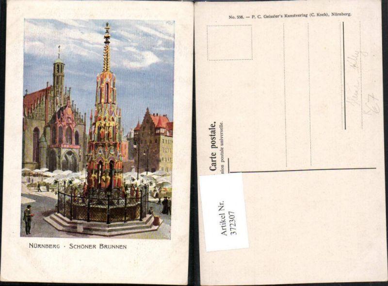 372307,Künstler AK Heinrich Kley Nürnberg Schöner Brunnen Markt Frauenkirche Kirche