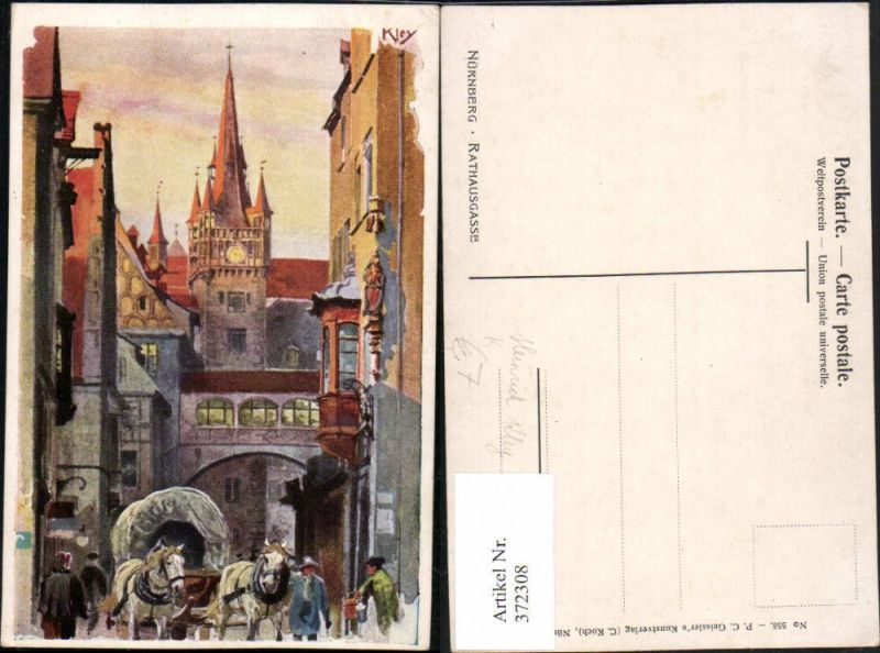 372308,Künstler AK Heinrich Kley Nürnberg Rathausgasse Planwagen