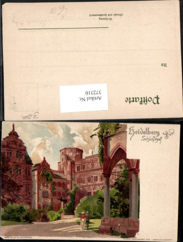 372310,Künstler Litho Heinrich Kley Heidelberg Schloss Schlosshof