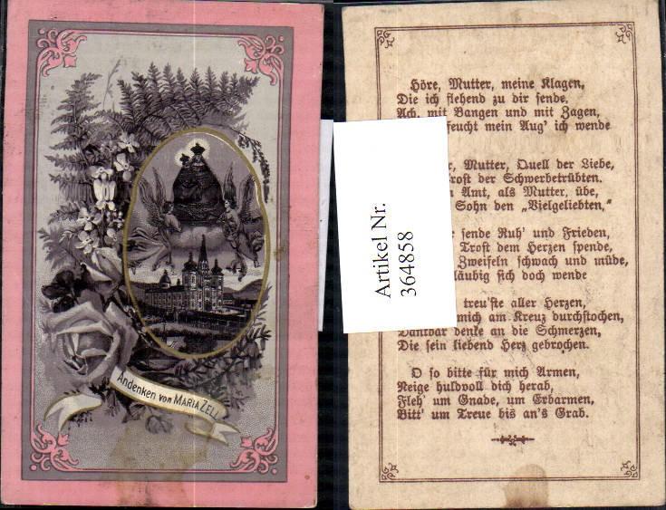 364858,Andachtsbild Heiligenbildchen Gnadenmutter Maria Zell Mariazell Rosen Blumen Farn