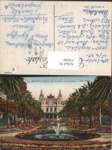 374500,Monaco Monte-Carlo Les Jardins et le Casino Springbrunnen Palmen
