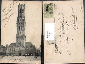 374836,Belgium Bruges Brügge Le Beffroi et Halles Rathaus Glockenturm