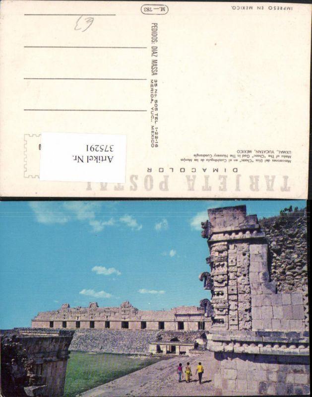375291,Mexico Yucatan Uxmal Mascarones del Dios Chaac en el Cuadrangulo de las Monjas