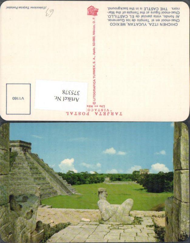 375378,Mexico Yucatan Chichen Itza Chac-mool en el Templo de los Guerreros vista el Castillo