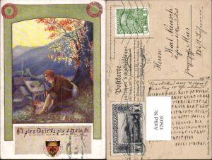 376005,Deutscher Schulverein Deutsche Lieder 20/99 Künstler T. Welzl Mann Wanderer Liedzeile