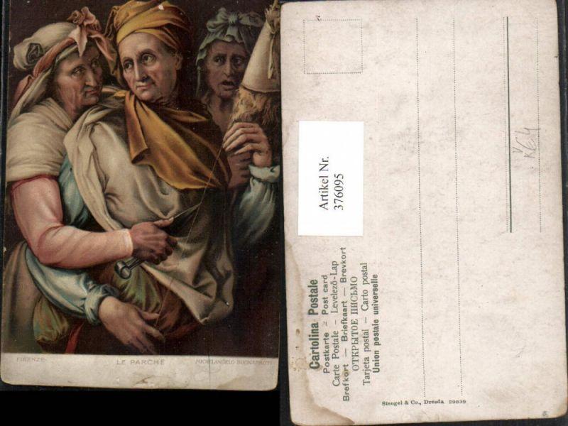 376095,Stengel Co 29839 Künstler Michelangelo Buonarroti Le Parche Die Drei Schicksale Faden Schere