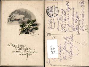 376145,Meissner & Buch 2254 Künstlerkarte Neujahr Winterlandschaft Glocken Tannenzweige