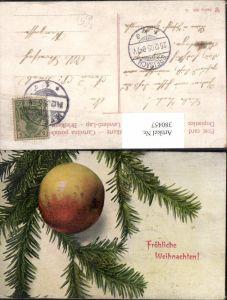380457,Künstler Ak Apfel Frucht Obst Tannenzweig Weihnachten