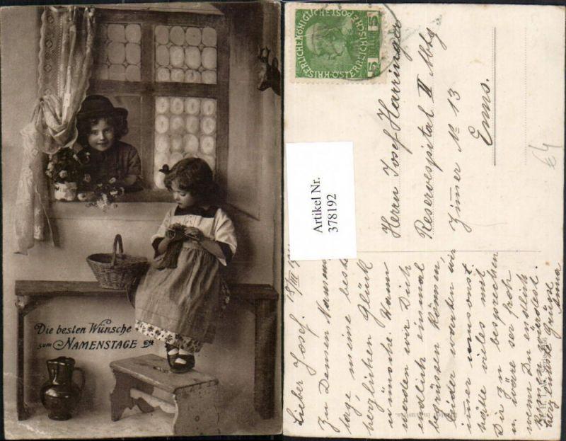378192,Namenstag Kinder Mädchen b. Stricken Bub Junge Fenster Blumen