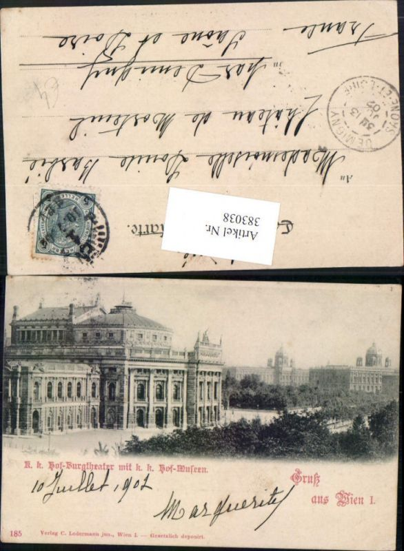 383038,Gruß aus Wien Innere Stadt Hof-Burgtheater Theater m. Hof-Museum