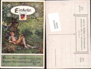 383592,Bund d. Deutschen i. Niederösterreich 42 Künstler A. Marussig Einkehr Mann Wanderer Pause