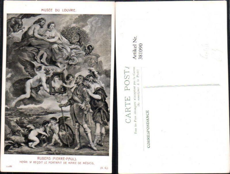 381090,Künstler Ak Pierre-Paul Rubens Henri IV Recoit le Portrait de Marie de Medicis Engel Erotik
