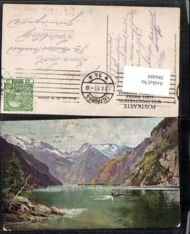 384489.Künstler AK Thomas Guggenberger Königssee See b. Schönau Bergkulisse