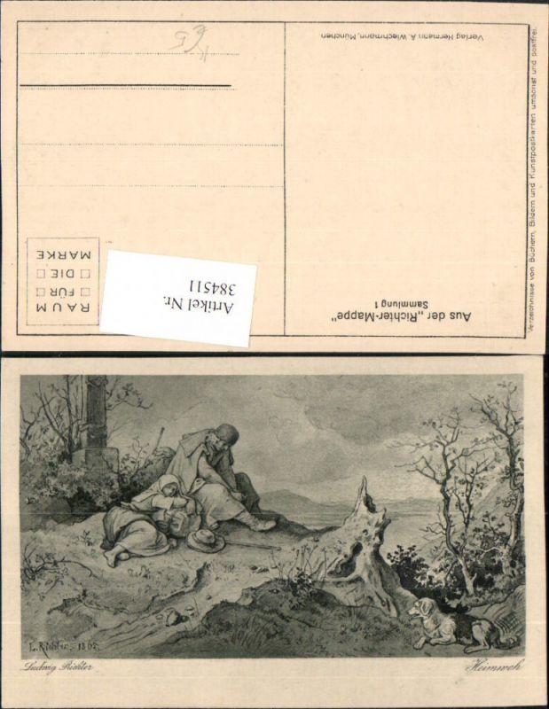 384511.Künstler AK Ludwig Richter Heimweh Wanderer Hund pub A. Wiechmann