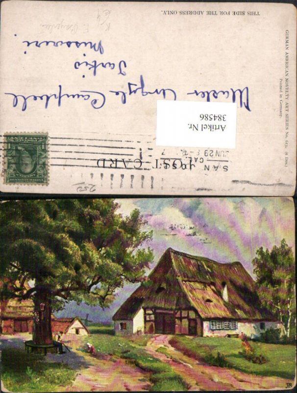 384586.Künstler AK F. Bayerlein Häuser Baum