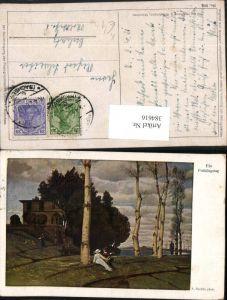 384616.Künstler AK A. Böcklin Ein Frühlingstag Landschaft Bäume pub A. Wiechmann 300
