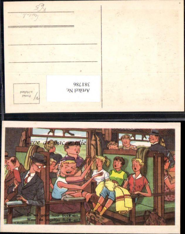 381786,Künstler Ak H. Rotgans Eisenbahn Lokomotiven Wagon Innen Singende Jugendliche