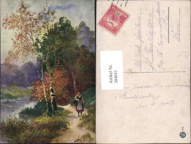 384651,Künstler AK L. Schweiger Mädchen Wegpartie Teich Bäume