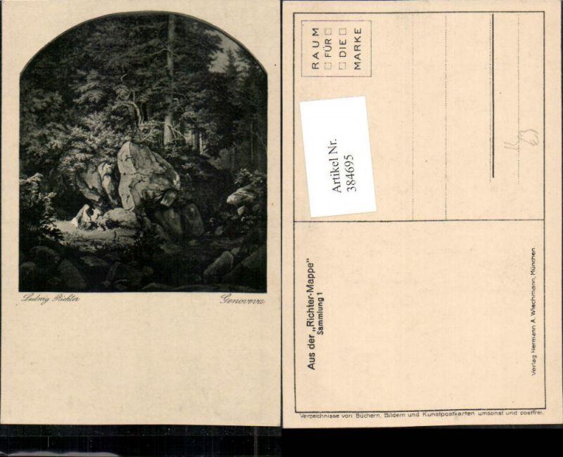 384695,Künstler AK Ludwig Richter Genoveva Wald Felsen pub A. Wiechmann