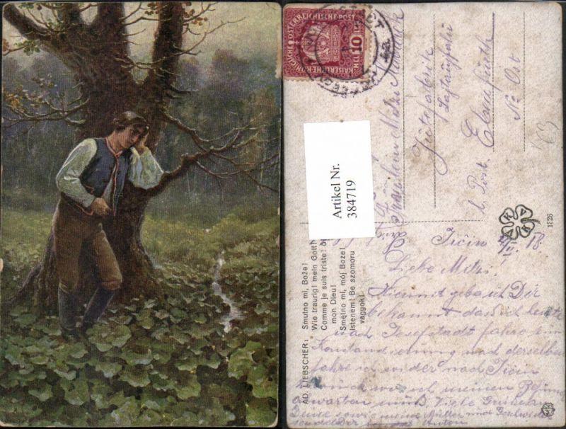 384719,Künstler AK Ad. Liebscher Wie traurig mein Gott Mann Landschaft Wald