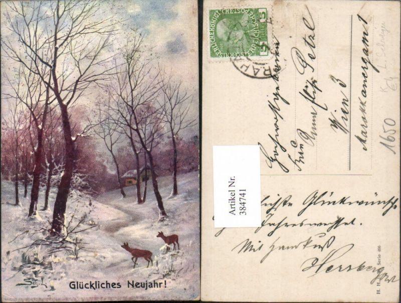 384741,Künstler AK L. Schweiger Neujahr Winterlandschaft Wald Haus Rehe
