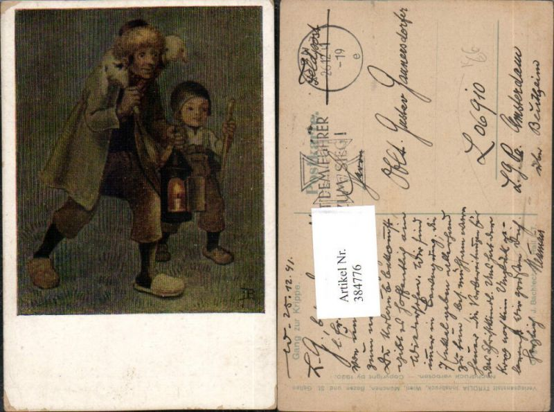 384776,Künstler AK J. Bachlechner Gang zur Krippe Mann m. Kind Lamm Laterne