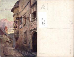384793,Künstler AK E. F. Hofecker Stadt Gebäude Erker Straßenansicht pub B.K.W.I. 603/10
