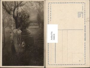 384810,Künstler AK V. Janowski Spaziergang Frau m. Kleid Hut