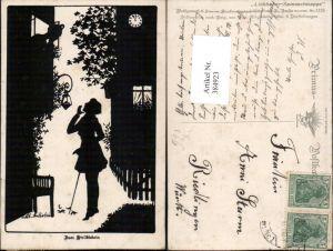 384923,Primus AK 1153 Künstler O. v. Alt-Stutterheim Silhouette Stelldichein Liebe Paar Fenster