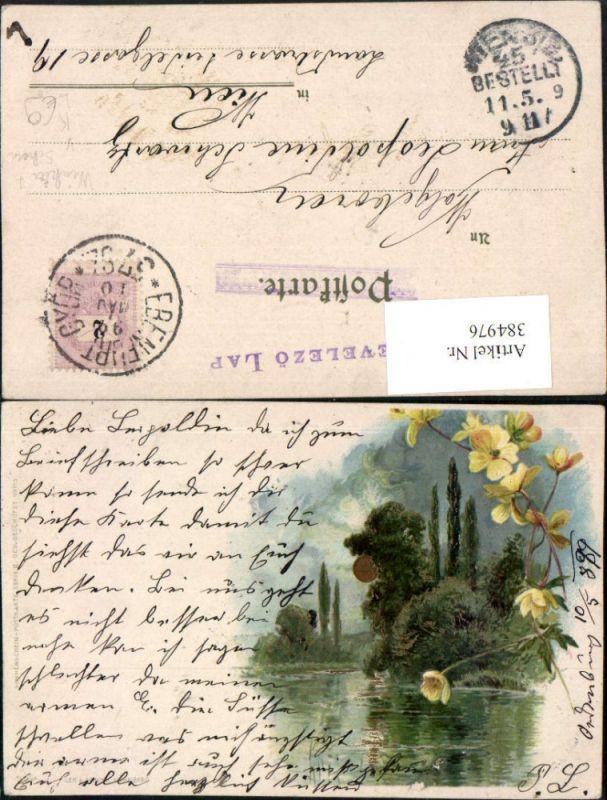 384976,Winkler & Schorn Sonnenschein-Karte 99115 Künstler Litho Landschaft Sonne Blume