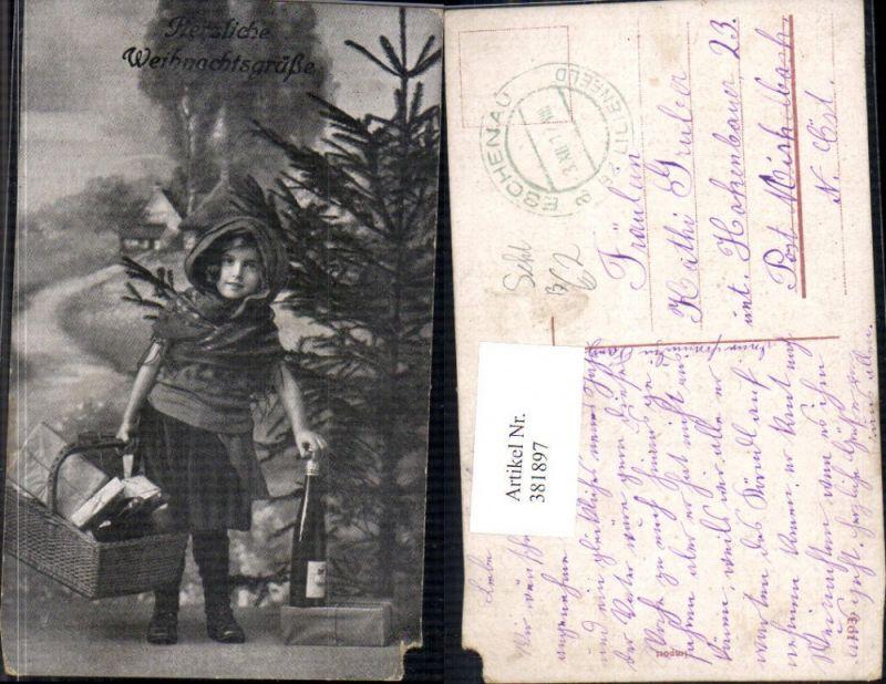 381897,Kind Mädchen m. Korb Pakete Flasche Sekt Tannenbaum Weihnachten