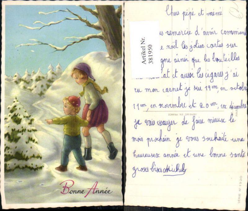 381950,Künstler Ak Kinder in Winterwald Tannenbaum m. Kerzen Bonne Annee