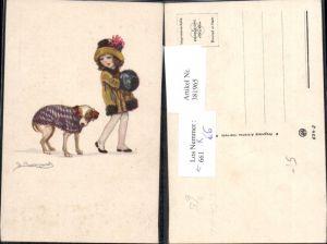 381965,Künstler Ak Sergio Bompard Kind Mädchen Mode Hund m. Deko