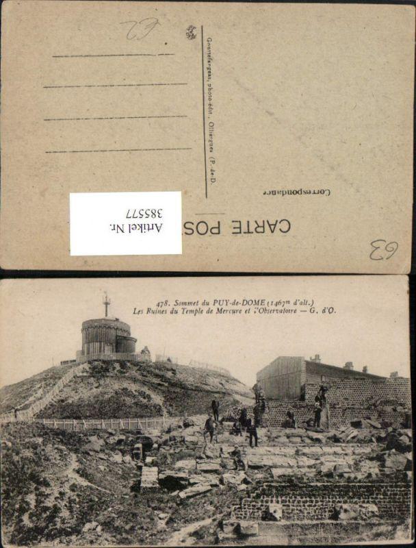 385577,Auvergne Puy-de-Dome Sommet Les Ruines du Temple de Mercure et Observatoire