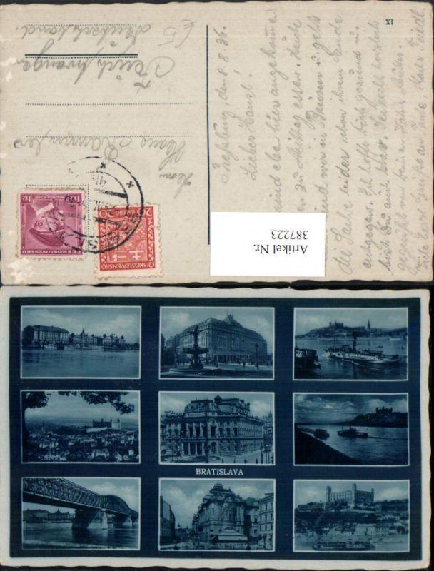 387223,Slovakia Bratislava Totale Burg Brücke Oper Theater Dampfer Mehrbildkarte
